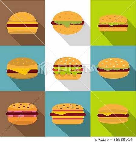 Burger icons set, flat style 36989014