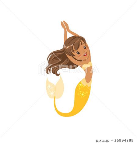 Beautiful little mermaid swimming underwater 36994399