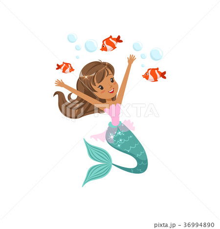 Happy mermaid girl swimming underwater with little 36994890