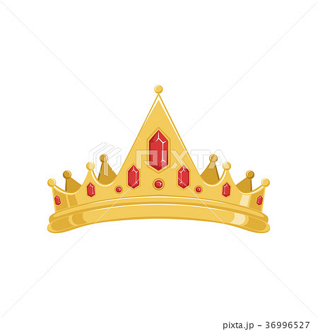 Golden ancient tiara or crown with red precious 36996527