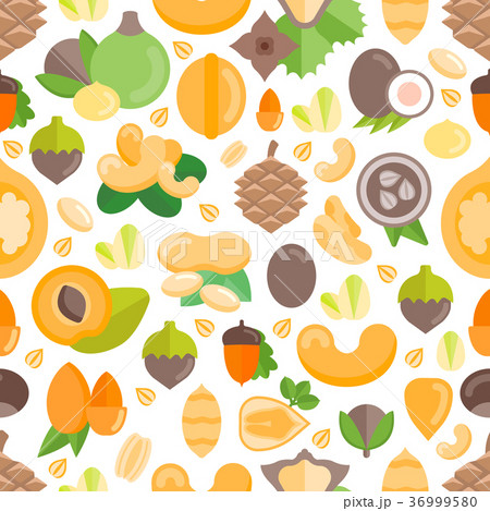 Seamless Pattern with Nuts 36999580