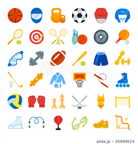 Set Vector Flat Icons of Sports Equipment 36999624