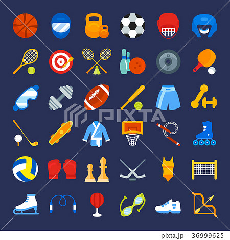 Set Vector Flat Icons of Sports Equipment 36999625