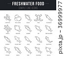 Set Vector Line Icons of Freshwater Food 36999977