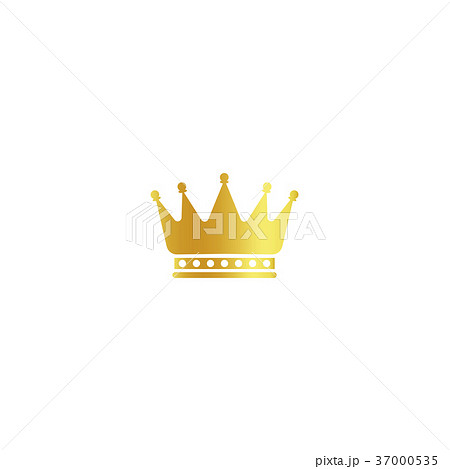 Isolated golden color crown logo on white 37000535
