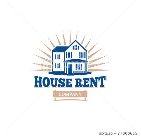 Isolated blue color architectural house icon for 37000655