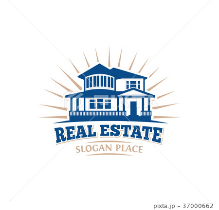 Isolated blue color architectural house icon for 37000662