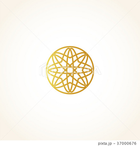 Isolated abstract round shape golden color logo 37000676