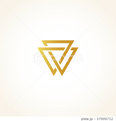 Isolated abstract golden color triangles contour 37000712