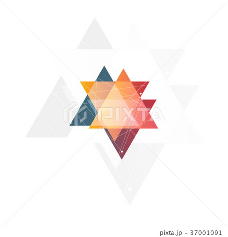 Isolated abstract pink and orange color triangle 37001091