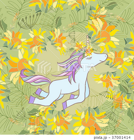 Retro style Illustration with flowers and animal 37001414