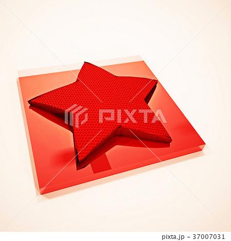 Red star 3D symbol. 3D rendering. 37007031
