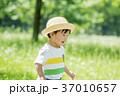 新緑の公園で遊ぶ男の子 37010657