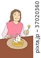 女性 パンケーキ ホットケーキのイラスト 37020360