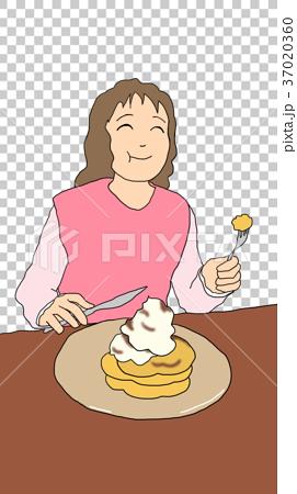 パンケーキを食べる女性 37020360