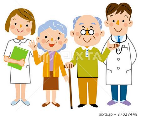 介護  老夫婦と医者と看護士 37027448