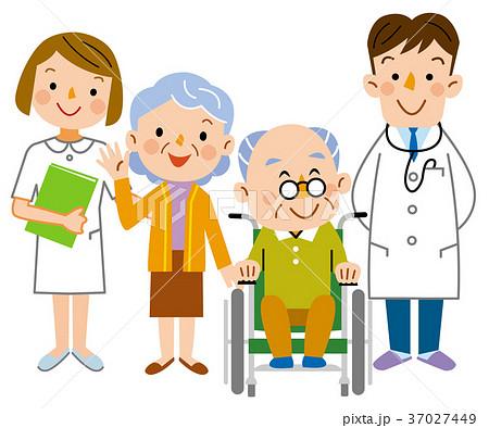 介護  老夫婦と医者と看護士 37027449