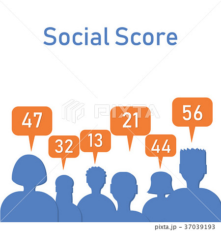 social score silhouettes with numbersのイラスト素材 37039193 pixta