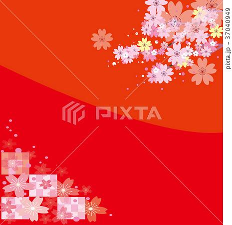 ●赤い背景の桜 37040949