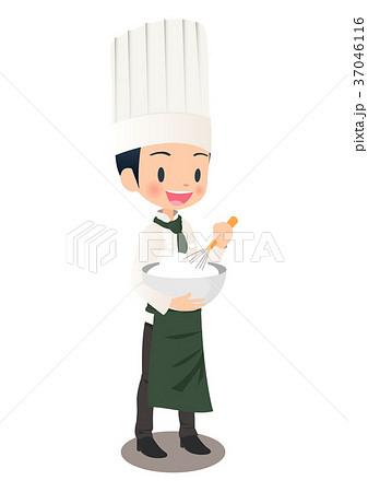 男性パティシエが生クリームを泡立てているイラスト画像 37046116