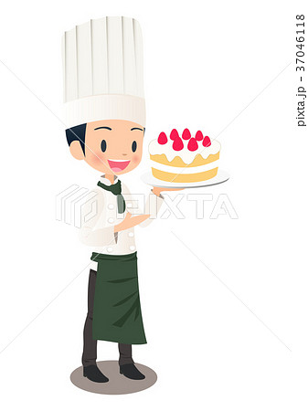 いちごのケーキを持つ男性パティシエのイラスト画像 37046118