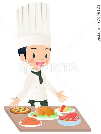 料理を完成させた男性シェフのイラスト画像のイラスト素材 37046123