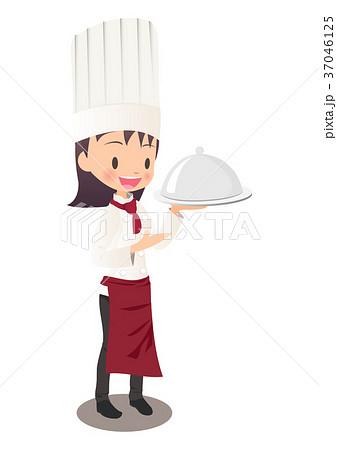 運んだ料理の説明する女性シェフのイラスト画像 37046125
