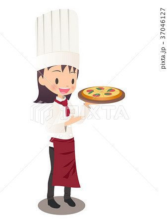 焼きあがったピザを持つ女性シェフのイラスト画像 37046127