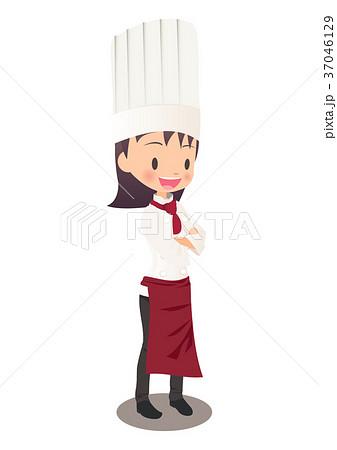 腕を組む女性シェフのイラスト画像 37046129