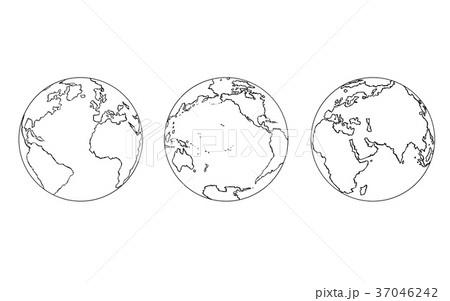 cartoon of three views of planet earth globeのイラスト素材 37046242