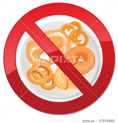 Gluten free icon. No bread sign. Ban calorie food 37050885