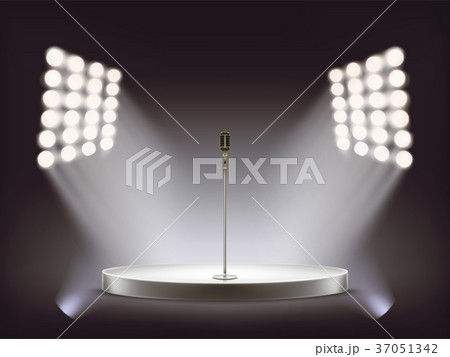 Vector realistic microphone on empty round stage 37051342