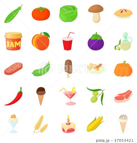 Tinned goods icons set, cartoon style 37053421