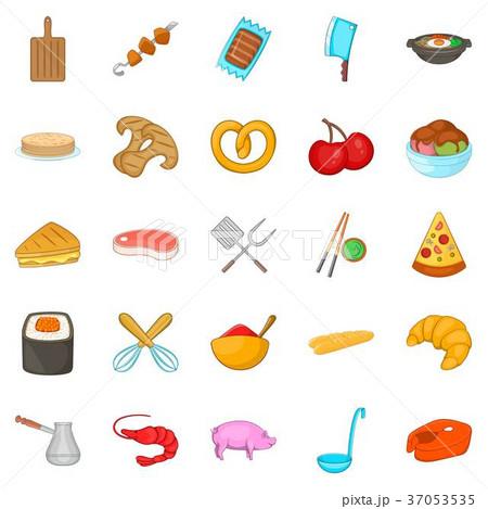 Roast icons set, cartoon style 37053535