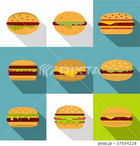 Cheeseburger icons set, flat style 37054228