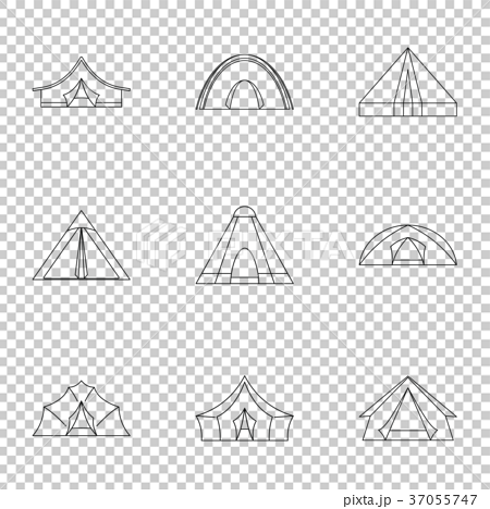 Travel tent form icon set, outline style - Stock Illustration