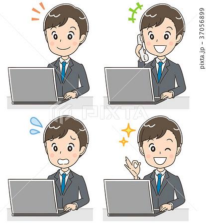 若いビジネスマン 就活生のイラスト パソコン 37056899