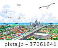 街並み 海 カモメのイラスト 37061641