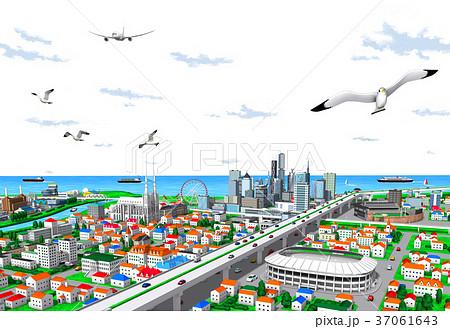 街 街並み 海辺 透明 37061643