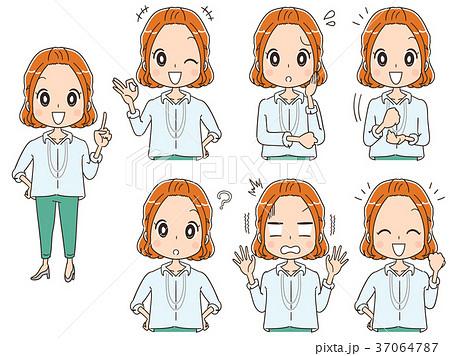 働く女性のイラスト カジュアル(セット) 37064787
