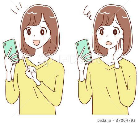 若い女性のイラスト スマホ 37064793