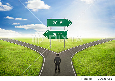 2017 or 2018 business road to the correct way の写真素材 37066783