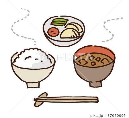 ご飯 味噌汁 漬物 和食 37070095