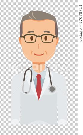 白衣を着た中年の男性医者が正面を向いている 37078711