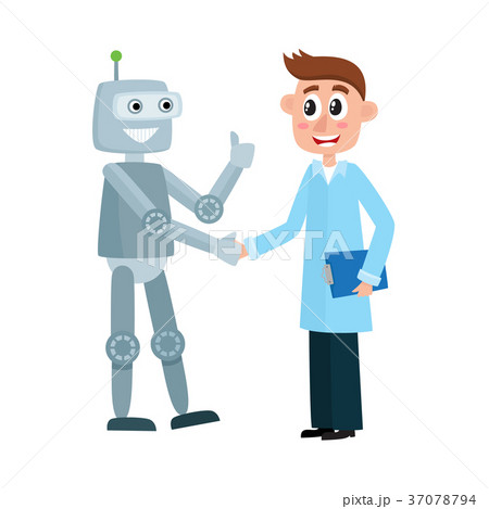 Scientist in a lab coat shaking hands with robot 37078794