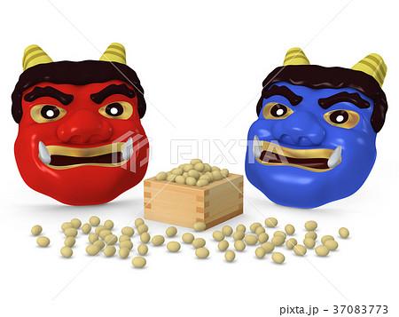 豆まき節分 赤おに 青おに お面02のイラスト素材 37083773 Pixta
