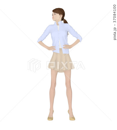 ポーズする女性 ファッション perming2DCG イラスト素材 37084100