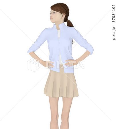 ポーズする女性 ファッション perming2DCG イラスト素材 37084102