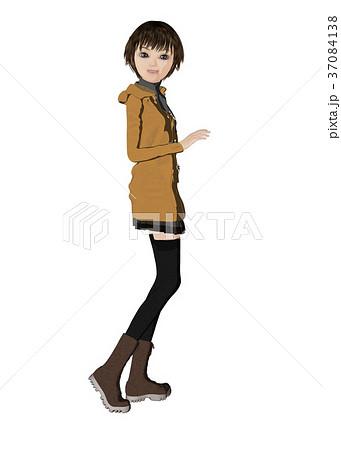 ダッフルコートの女性 perming2DCGイラスト素材 37084138