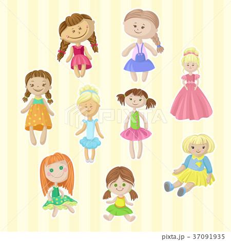 Cute female dolls set, lovely toys for little 37091935